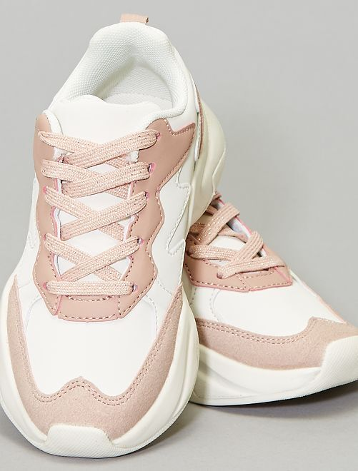 Baskets bicolores en simili                             blanc/rose