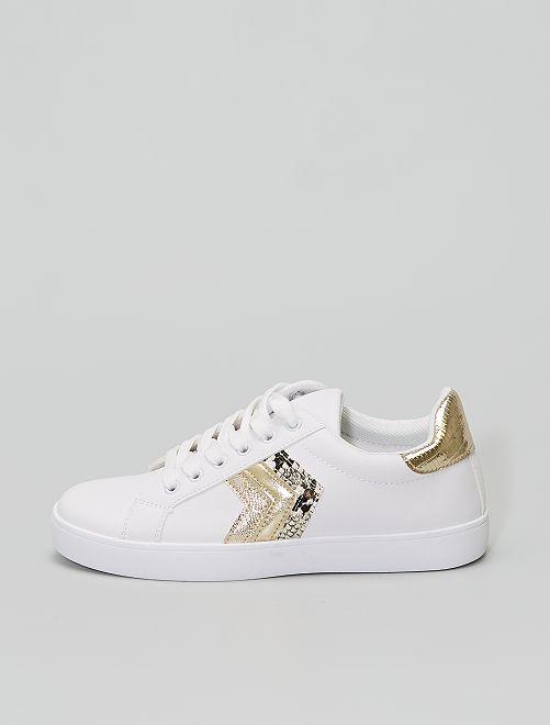 Baskets blanches détails dorés                             doré