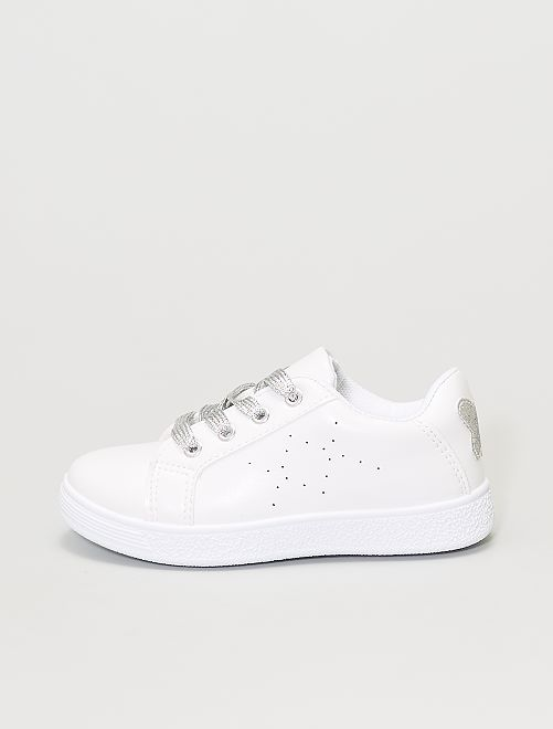 Baskets blanches 'papillon'                             blanc