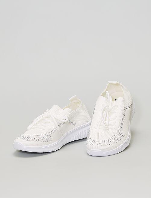 Baskets chaussons en mesh                             blanc