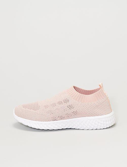 Baskets chaussons en mesh brillant                             rose