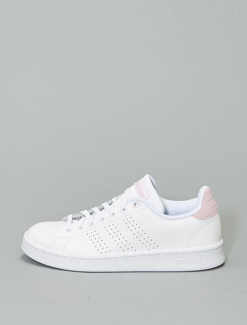 Baskets cuir 'adidas Advantage'                             blanc/rose
