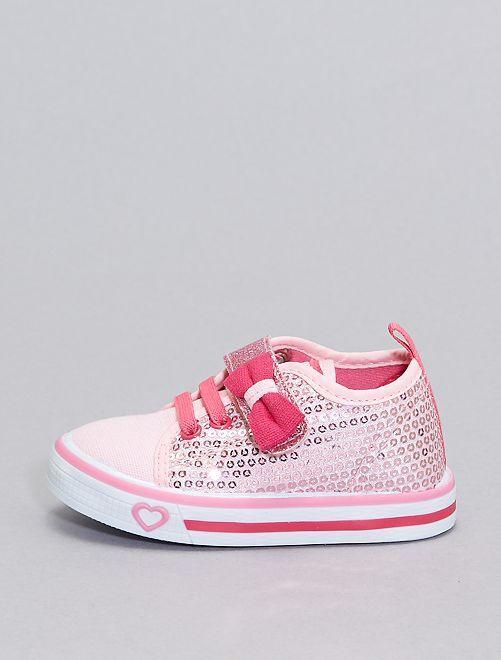 Baskets en toile à sequins                             rose