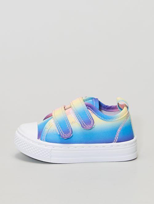 Baskets en toile dégradé de pastels                             bleu