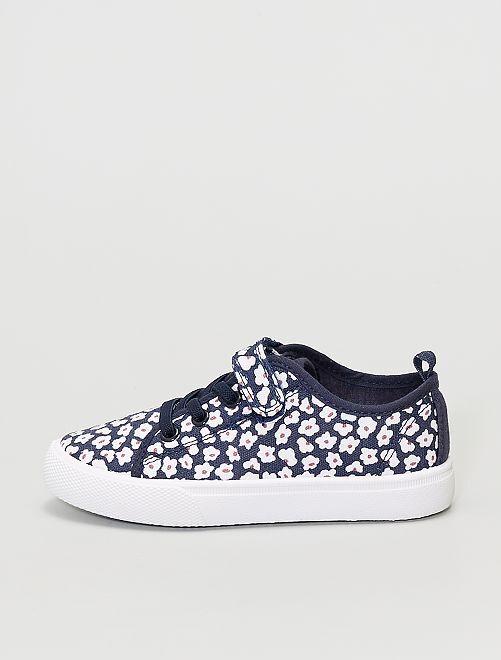 Baskets en toile fleuries à scratch et lacets                                         bleu navy