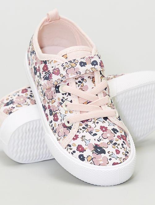 Baskets en toile fleuries à scratch et lacets                                         rose