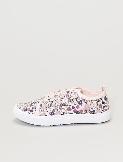 Baskets en toile fleuries                                         rose