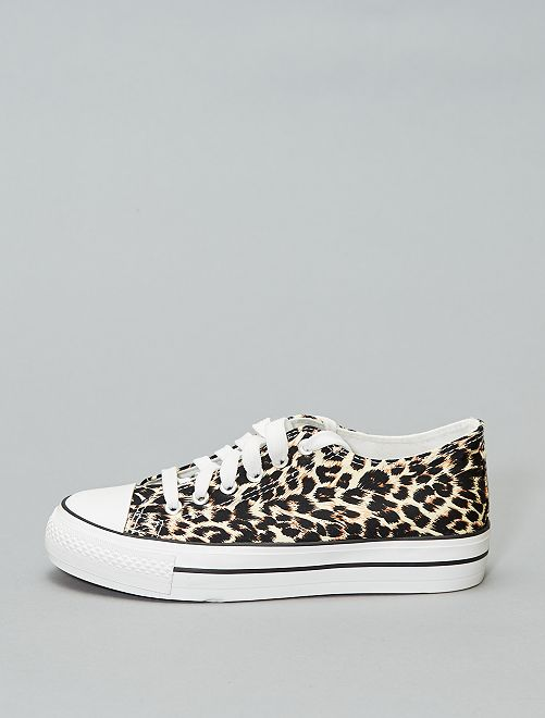 Baskets en toile imprimée 'léopard'                             noir/beige