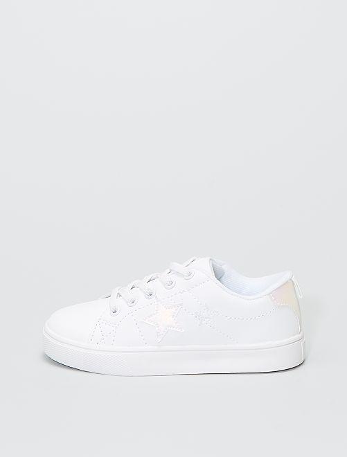 Baskets 'étoiles' lacets élastiques                             blanc