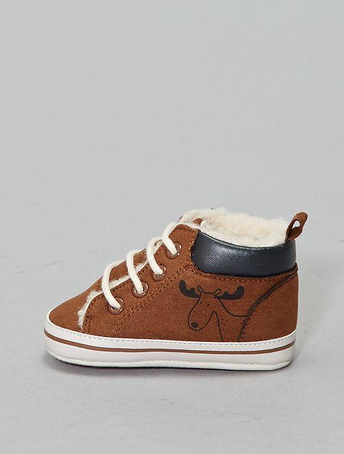 Baskets fourrées en sherpa                             brun