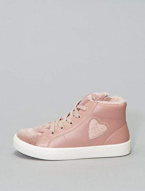 Baskets hautes fourrées                             rose
