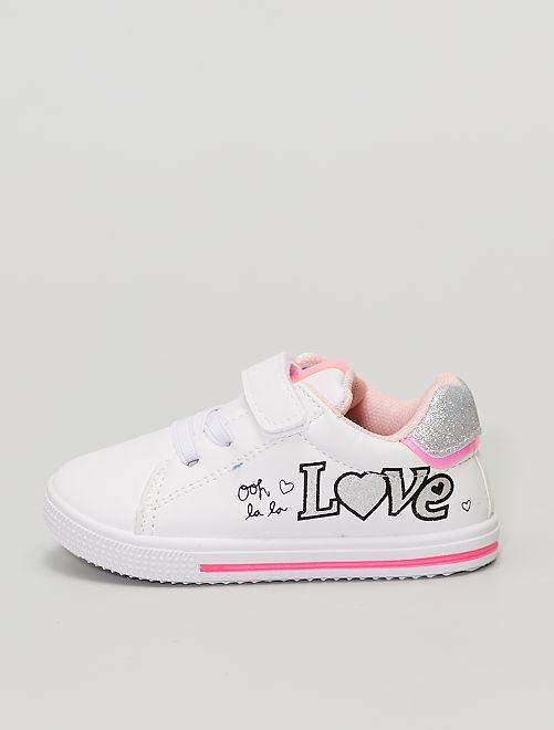 Baskets 'Love' pailletées à scratch                             blanc