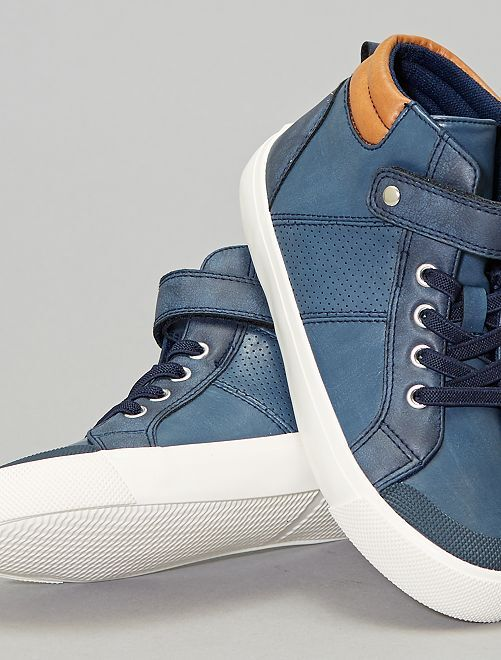 Baskets montantes en simili                                                     bleu navy Garçon adolescent