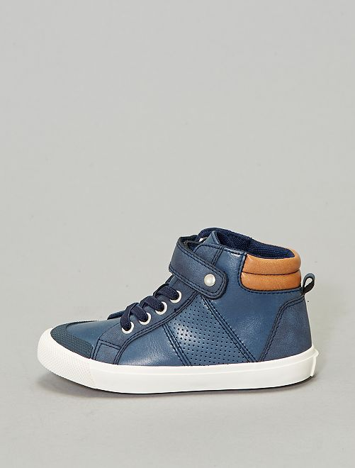 Baskets montantes en simili                                                     bleu navy