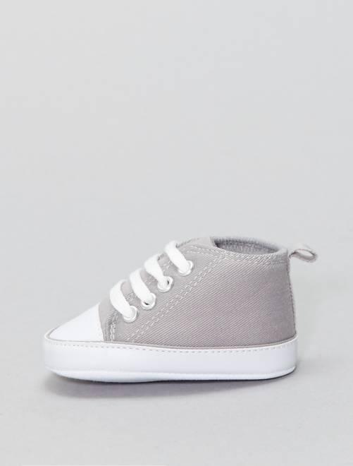 Baskets montantes en toile                                                                                                                                                                                                                                                          gris