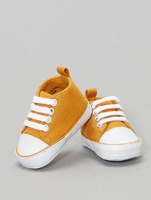 Baskets montantes en toile                                                                                                                                                                                                                                                                                                      jaune moutarde