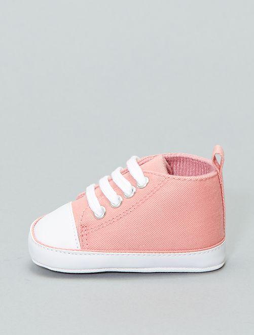 Baskets montantes en toile                                                                                                                                                                                                                                                                  rose Bébé garçon