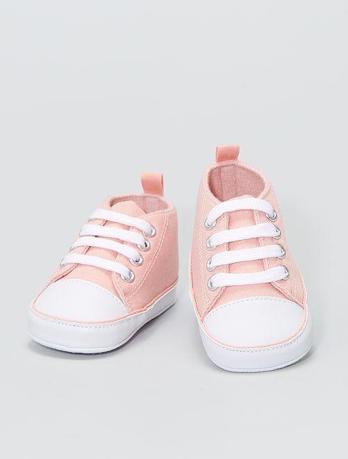 Baskets montantes en toile                                                                                                                                          rose