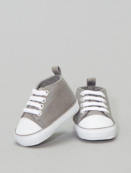 Baskets montantes en toile                                                                                                                                                                                                                                                                              gris souris Bébé garçon