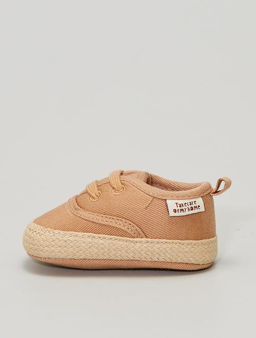 Baskets montantes en toile                             marron