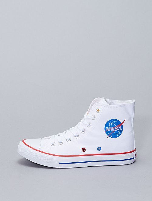 Baskets montantes en toile 'NASA'                             blanc