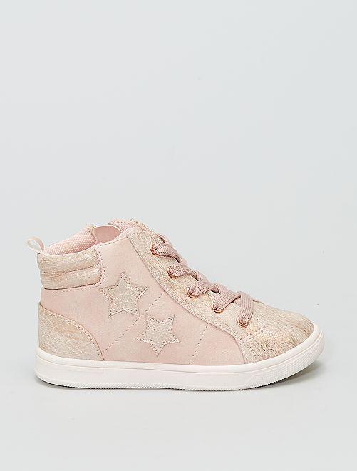 Baskets montantes 'étoiles'                             rose