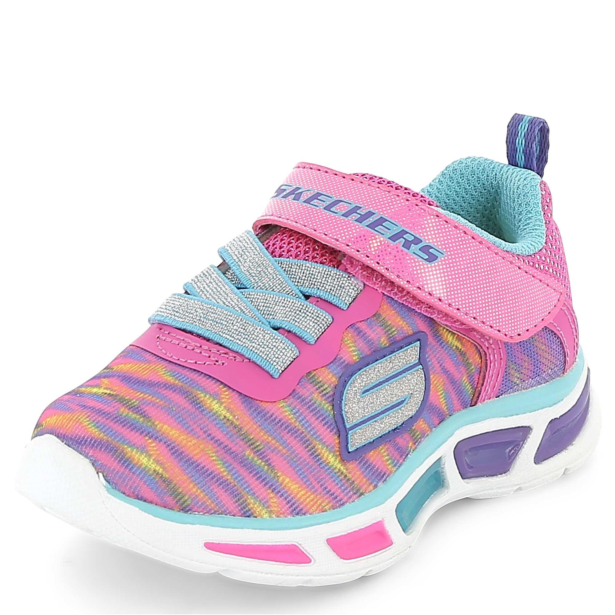 Couleur : rose, , ,, - Taille : 25, 24, 23,21,Le sport plein de couleurs ! - Baskets multi-sports en textile effet tissé 'Skechers'