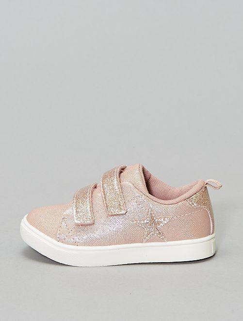 Baskets pailletées à scratchs                                         rose Bébé fille