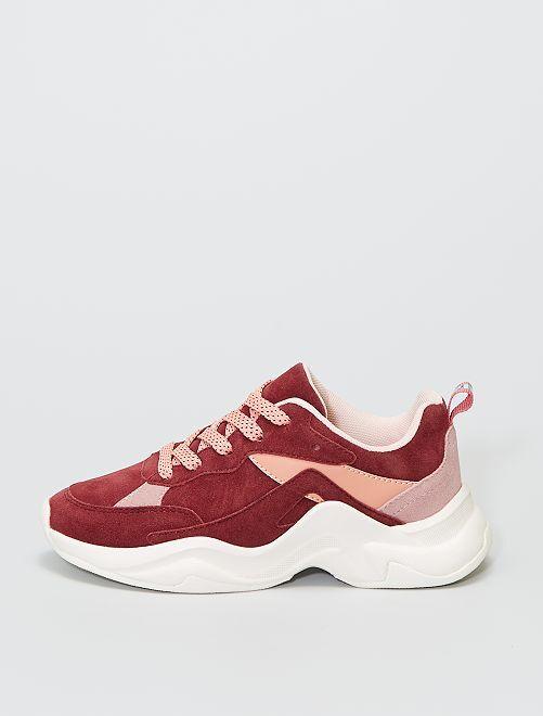 Baskets running en suédine                             rose