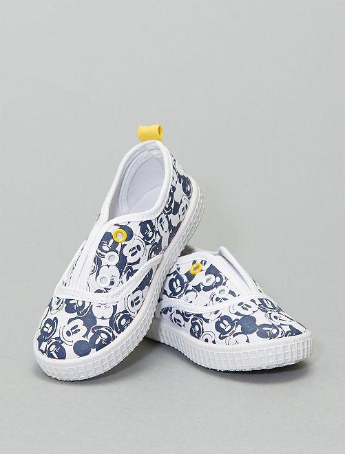 Baskets sans lacets en toile 'Mickey Mouse'                             blanc