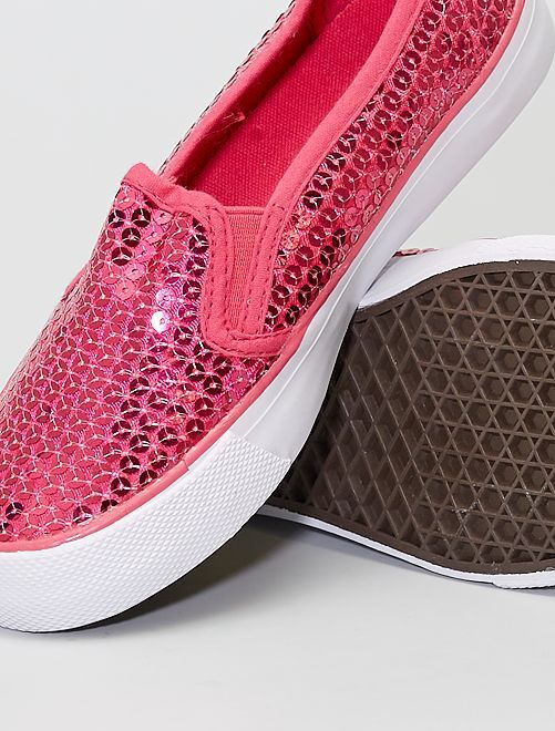 Baskets slip-on à sequins                             rose fuchsia