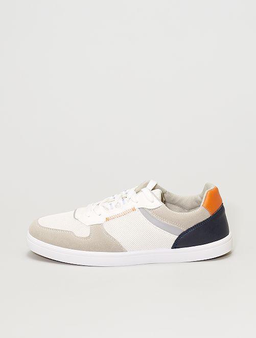 Baskets tricolores                             blanc/beige