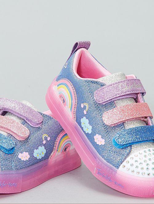 05e771dec1a Baskets  twinkle  Skechers Lumineuses Fille - bleu   rose - Kiabi ...