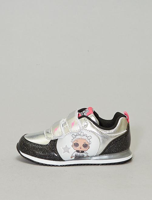 Baskets vernis et métal 'LOL'                             noir/argent Chaussures