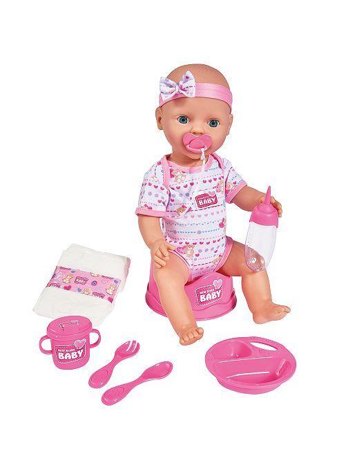 Bébé en plastique + set                             rose