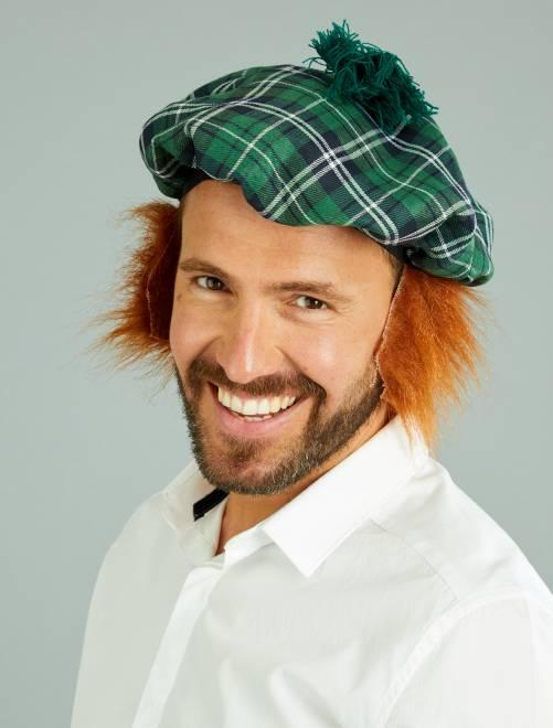 Béret écossais perruque intégrée                             vert Homme