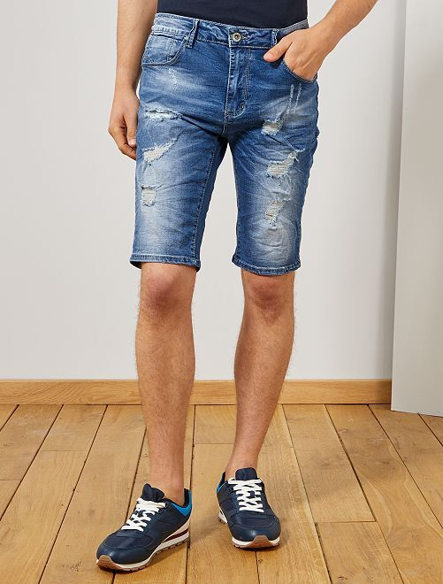 Bermda denim destroy                             denim Homme