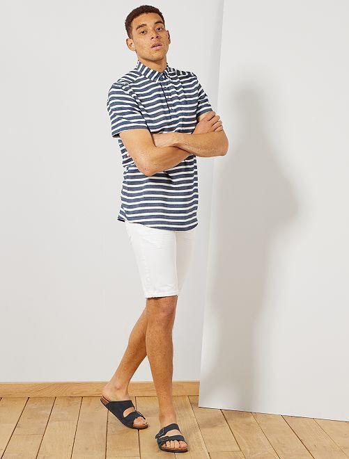 Bermuda 5 poches en denim                                                                             blanc