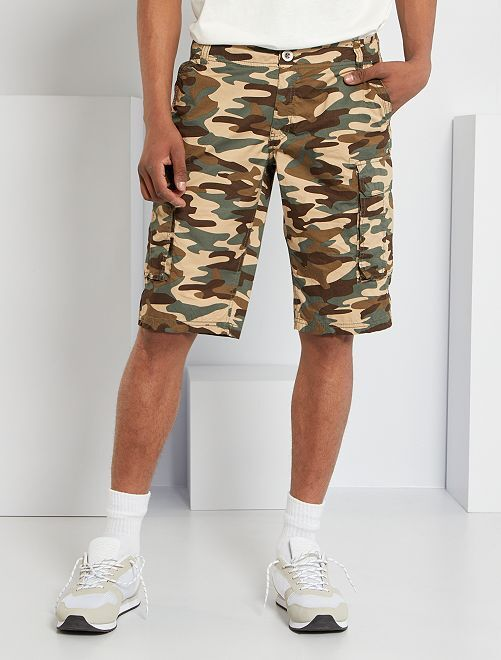 Bermuda battle camouflage en pur coton                                         camouflage kaki
