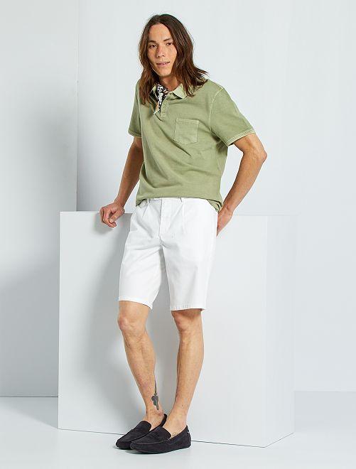 Bermuda chino en coton armuré                             blanc