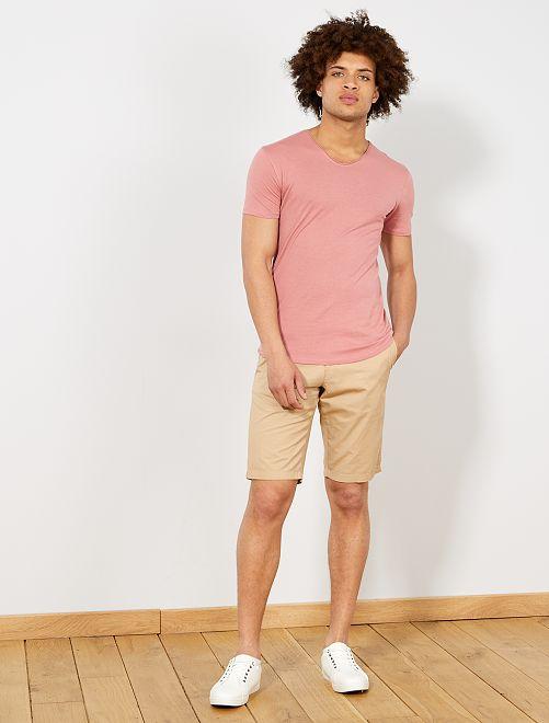 Bermuda chino en coton                                                                                                                                         beige Homme