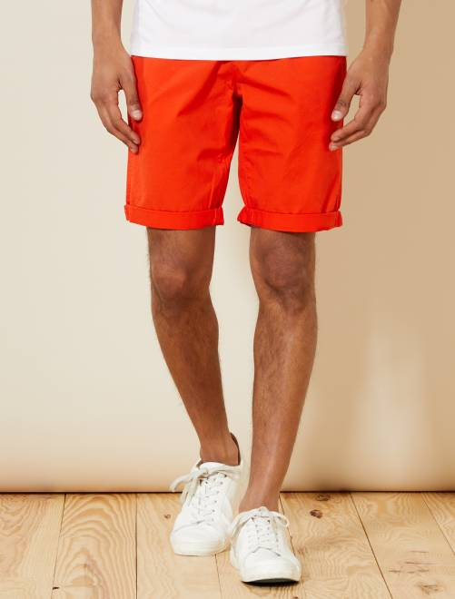 Bermuda chino en twill léger                                                                                         orange Homme