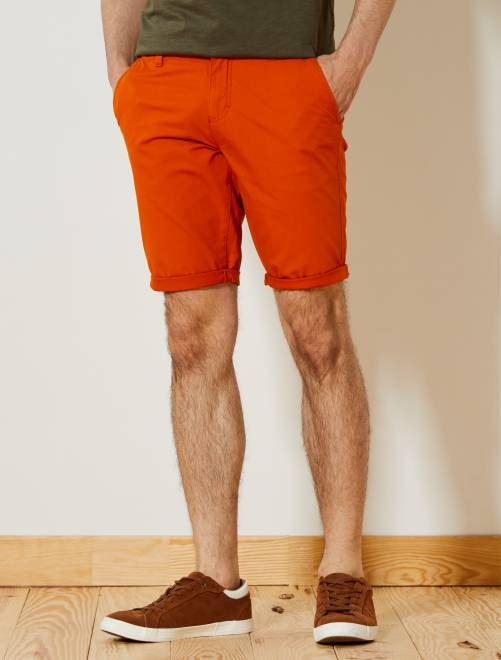 Bermuda chino en twill léger                                                                                                     orange terre Homme