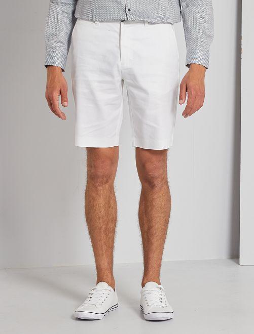 Bermuda chino lin et coton                                         blanc