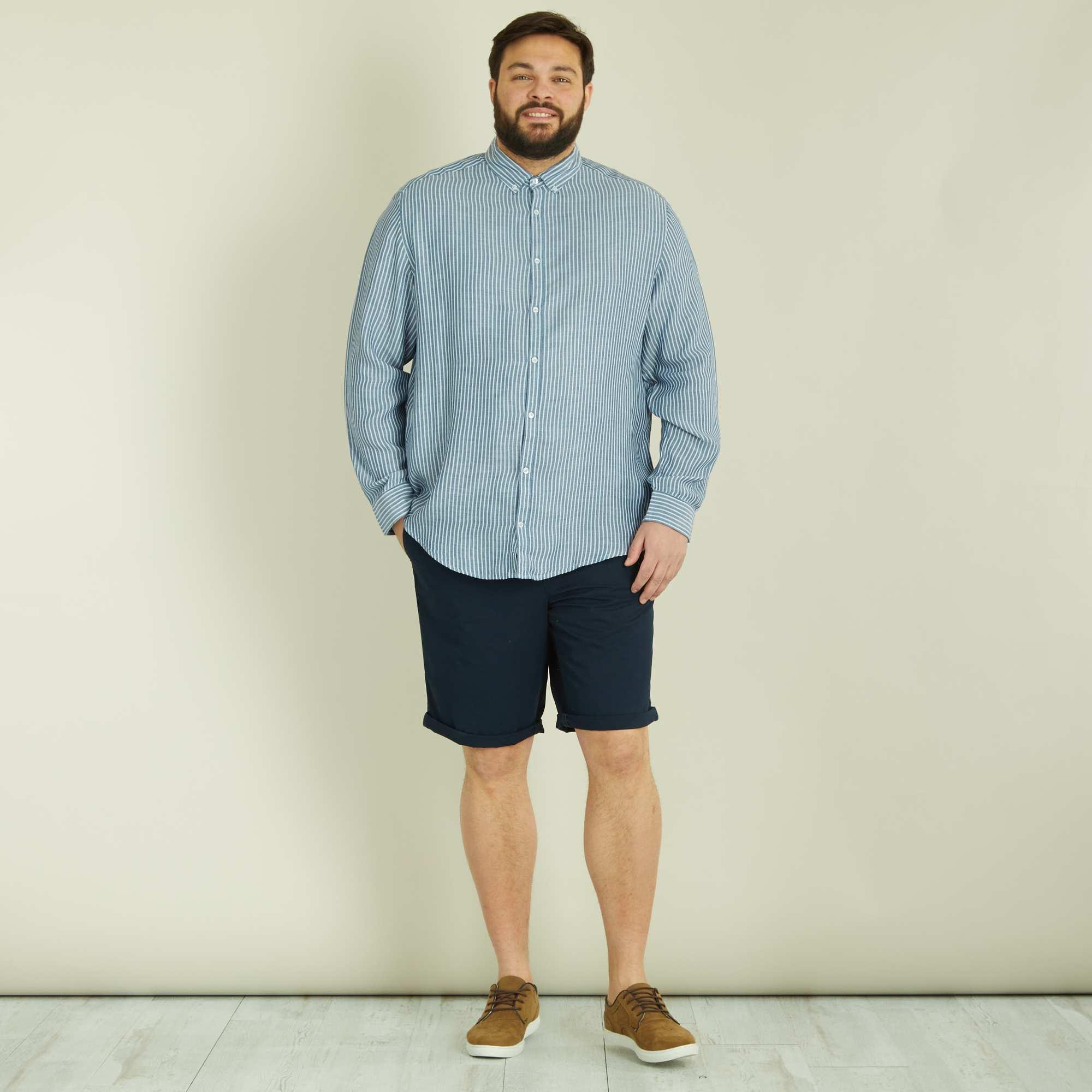 bermuda chino uni twill l ger grande taille homme bleu marine kiabi 7 50. Black Bedroom Furniture Sets. Home Design Ideas