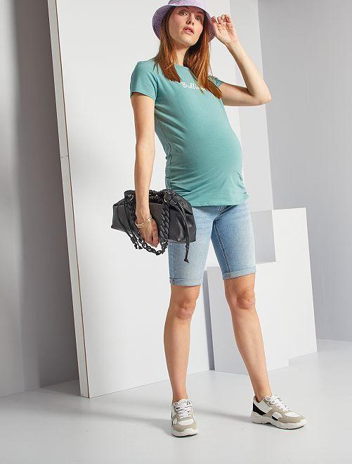 Bermuda de maternité éco-conçu                                         bleu