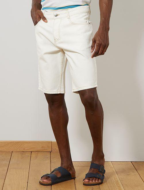 Bermuda en jean écru                                         blanc