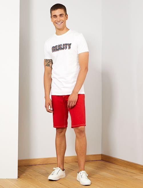 Bermuda en jean rouge                                         rouge Homme