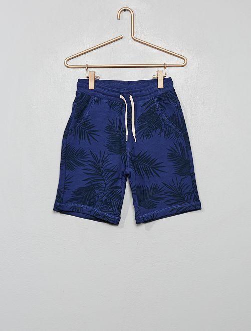 Bermuda en molleton imprimé 'palmiers'                                         bleu cobalt