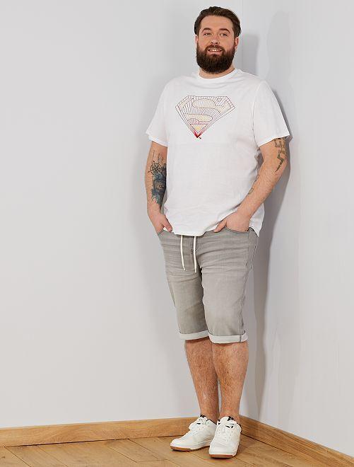 Bermuda jogg en denim                                                                 gris clair Grande taille homme